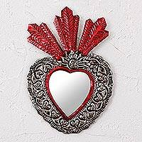 Tin wall mirror,  'My Heart's Reflection' - Handmade Heart Shaped Tin Wall Mirror from Mexico
