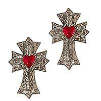 Tin wall decor, 'Cross My Heart' (set of 2) - Handcrafted Repousse Style Tin Cross Wall Decor (set of 2)