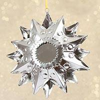 Tin hanging decor, 'Light's Reflection' - Handcrafted Double-Sided Hanging Tin Star with Mirrors