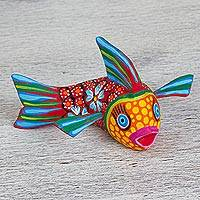 Alebrije sculpture, 'Lively Fish' - Hand-Painted Alebrije Fish Sculpture from Mexico