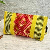 Cotton cosmetic bag, 'Vibrant Daffodil' - Handwoven Cotton Cosmetic Bag in Daffodil from Mexico