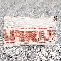 Cotton cosmetic bag, 'Rosewood Life' - Cotton Closmetic Bag with Rosewood Motifs from Mexico