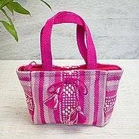 Cotton mini handbag, 'Sweet Rose' - Handwoven Cotton Handbag with Pink Stripes from Mexico