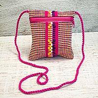 Cotton cell phone bag, 'Oaxaca Legacy' - Handmade 100% Cotton Purple, Pink and Yellow Cell Phone Bag
