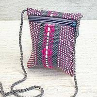 Cotton cell phone bag, 'Zapotec Heritage' - Mexican Loom Woven 100% Cotton Pink and Grey Cell Phone Bag