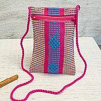 Cotton cell phone bag, 'Joy and Tradition' - Mexican Hand Woven Multicolored 100% Cotton Cell Phone Bag