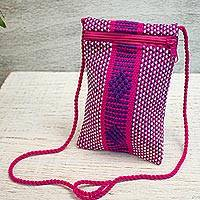 Cotton cell phone bag, 'Tranquility' - Pink and Purple 100% Cotton Loom Woven Cell Phone Bag