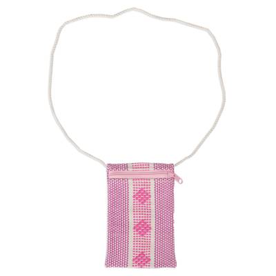 100% Cotton Pink and White Cell Phone Bag from Mexico