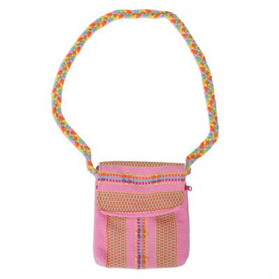 100% Cotton Loom Woven Pink Striped Sling from Mexico