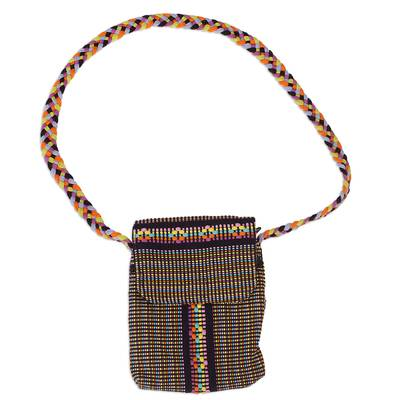 100% Cotton Handcrafted Black Multicolored Sling from Mexico