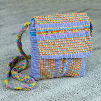 Cotton sling, 'Pastel Dream' - Loom Woven Blue Striped 100% Cotton Sling from Mexico
