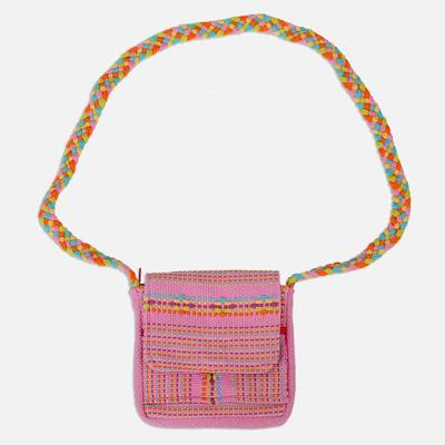 100% Cotton Loom Woven Pink Striped Sling Bag from Mexico