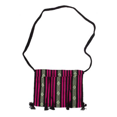100% Cotton Bohemian Style Striped Sling Bag from Mexico