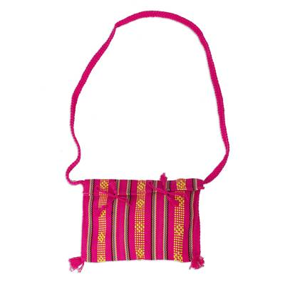 100% Cotton Bohemian Style Fuchsia Sling Bag from Mexico