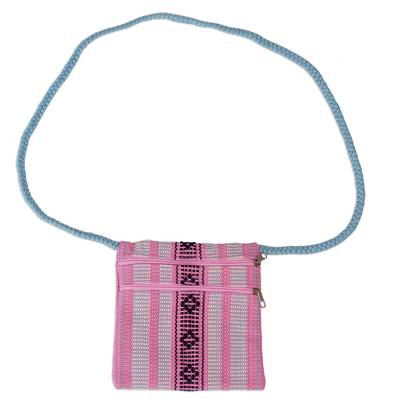 100% Cotton Pink and Blue Artisan Crafted Shoulder Bag