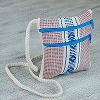 Cotton shoulder bag, 'Zapotec Gift' - 100% Cotton Hand Woven Blue and White Design Shoulder Bag