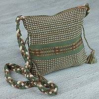 Cotton sling, 'Interlaced in Green' - Handwoven 100% Cotton Green Sling with Braid Accents