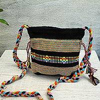 Cotton shoulder bag, 'Interlaced in Black' - Mexican Black 100% Cotton Shoulder Bag with Braid Accents
