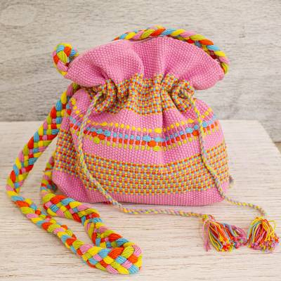 Cotton sling, 'Interlaced in Pink' - Mexican Backstrap Loom Woven 100% Cotton Pink Sling