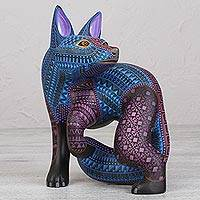 Alebrije sculpture, 'Blue Fox' - Blue Fox Alebrije Wood Sculpture from Mexico