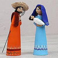 Ceramic nativity scene, 'From the Heavens' - Colorful Ceramic Nativity Scene with Box from Mexico