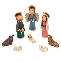 Ceramic nativity scene, 'A Village Christmas' (8 pieces) - Handcrafted 8-Piece Ceramic Naif Nativity Scene
