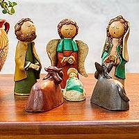 Ceramic nativity scene, 'Christmas Eve Charm' (6 pieces) - Mexico Handcrafted Ceramic Naif Nativity Scene (6 Pieces)