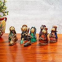 Ceramic nativity scene, 'Christmas with Kings' (9 pieces) - 9-Piece Handcrafted Ceramic Nativity Scene from Mexico