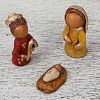 Ceramic nativity scene, 'Rustic Nativity' - Handcrafted Ceramic Nativity Scene with Box from Mexico