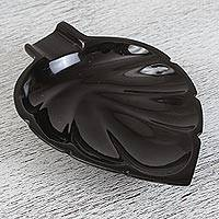 Marble catchall, 'Handy Leaf in Black' - Handcrafted Leaf-Shaped Marble Catchall in Black from Mexico