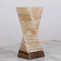 Onyx table lamp, 'Swirl of Light' - Mexican Modern Style Beige and Brown Onyx Table Lamp