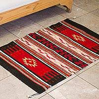 Zapotec wool rug, 'Fiesta in the Night' (2x3.5) - Red and Black Zapotec Handwoven Wool Accent Rug (2 x 3.5)