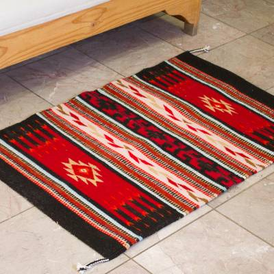 Zapotec wool area rug, Fiesta in the Night (2x3.5)