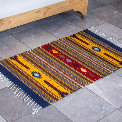 Zapotec wool rug, Autumn Marigolds (2x3.5)