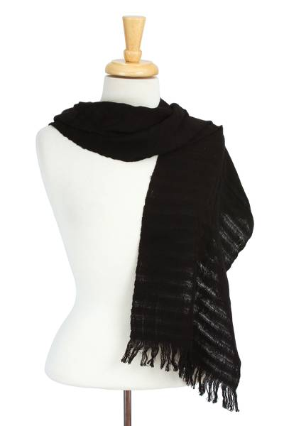 Cotton scarf, 'City Sway in Black' - Woven Black 100% Cotton Wrap Scarf from Mexico
