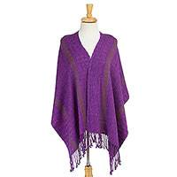 Cotton shawl, 'Cozy Evening' - Woven Cotton Shawl with Tassels from Mexico