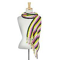 Cotton scarf, 'Mexican Stripes' - Woven Multicolor Striped Cotton Wrap Scarf from Mexico