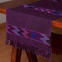 Cotton table runner, 'The Grapes of Life' - Hand Woven 100% Cotton Purple Table Runner from Mexico