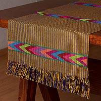 Cotton table runner, 'Warm Greeting' - Artisan Woven 100% Cotton Yellow and Blue Table Runner