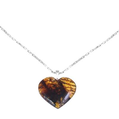Heart-Shaped Natural Amber Pendant Necklace from Mexico
