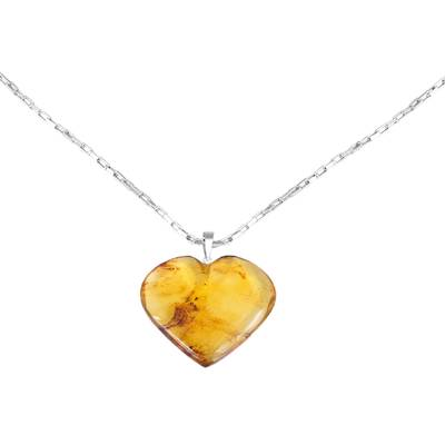 Natural Amber Heart Pendant Necklace from Mexico