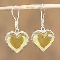 Amber dangle earrings, 'Heartfelt Gleam' - Heart Shaped Natural Amber Dangle Earrings from Mexico