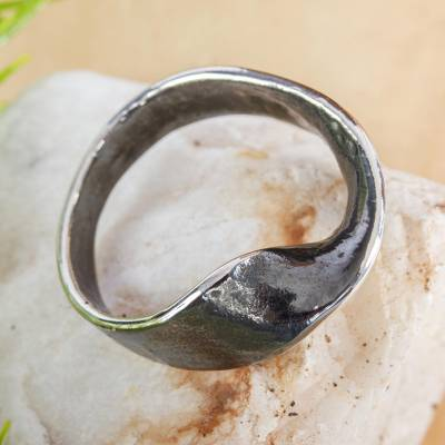 Oxidized Sterling Silver Band Ring from Mexico