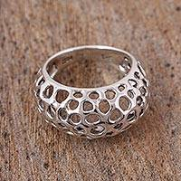 Sterling silver cocktail ring, 'Porous Texture' - Openwork Sterling Silver Cocktail Ring from Mexico