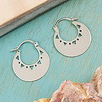 Sterling silver hoop earrings, 'Triangle Glow' - High-Polish Sterling Silver Hoop Earrings from Mexico
