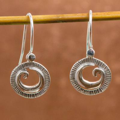 Sterling silver dangle earrings, 'World of Waves' - Spiral Design Sterling Silver Dangle Earrings from Mexico