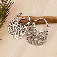 Sterling silver hoop earrings, 'Hiding Holes' - Openwork Sterling Silver Hoop Earrings from Mexico
