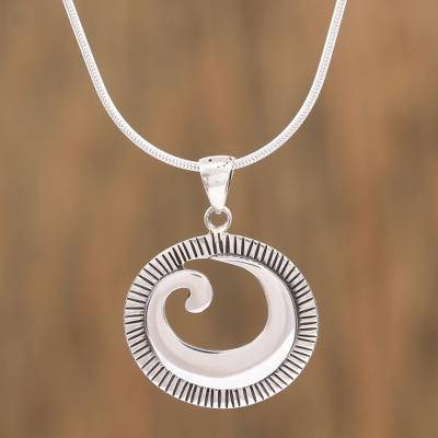Sterling silver pendant necklace, 'World of Waves' - Spiral Design Sterling Silver Pendant Necklace from Mexico