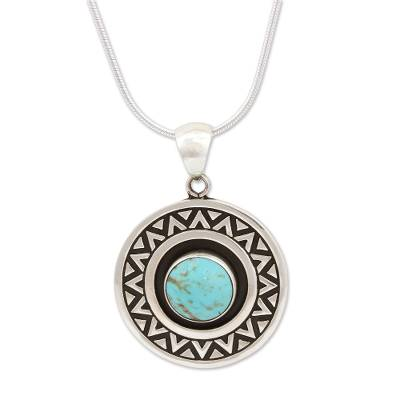Zigzag Motif Turquoise Pendant Necklace from Mexico