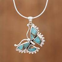 Sterling silver pendant necklace, 'Happiness Soars' - Composite Turquoise and Sterling Silver Butterfly Necklace
